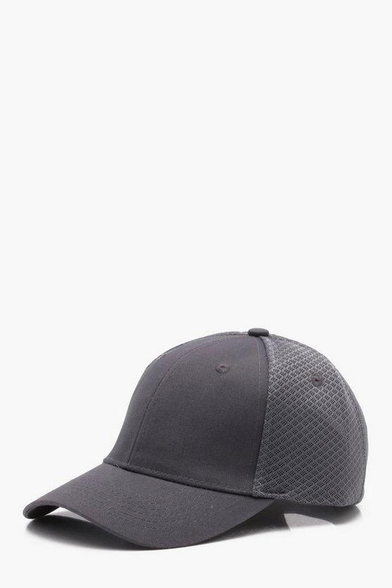 Mens Grey Sneaker Mesh 6 Panel Cap