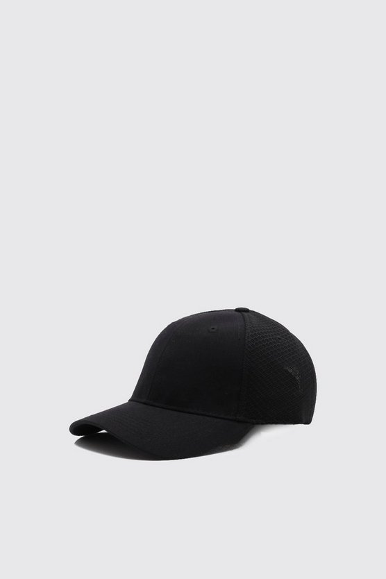 Mens Black Sneaker Mesh 6 Panel Cap