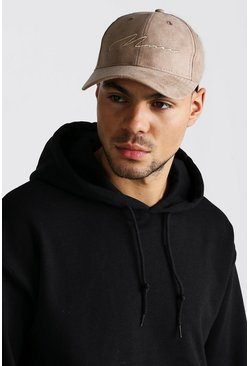 Mens Stone 6 Panel Cap With MAN Embroidery