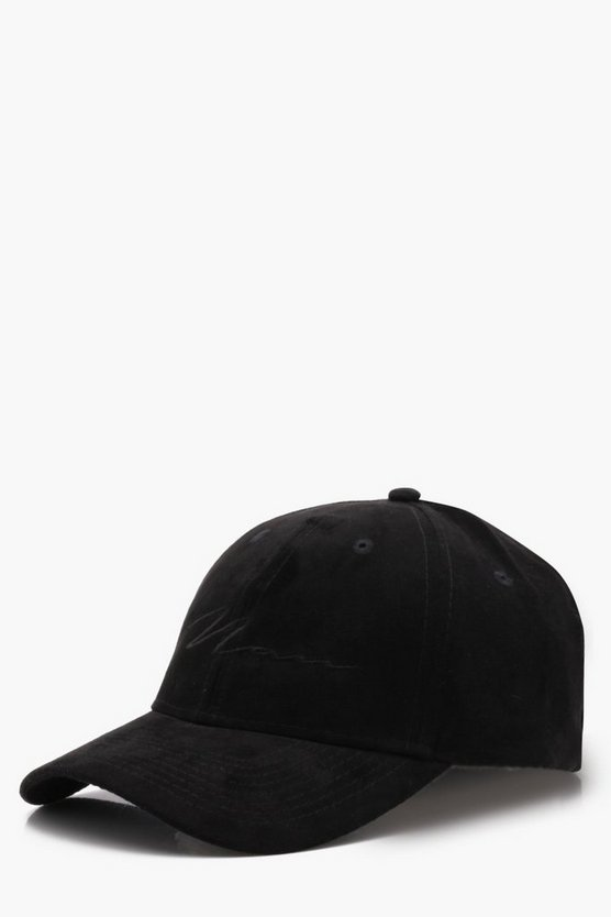Mens Black 6 Panel Cap With MAN Embroidery