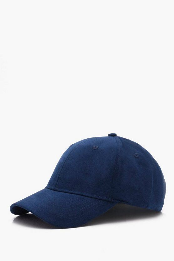 Faux Suede Panel Cap With Buckle Adjuster