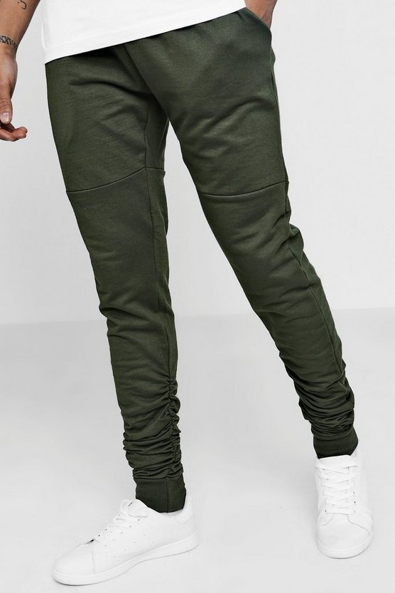 Skinny Fit Ruched Jogger With Side Zip