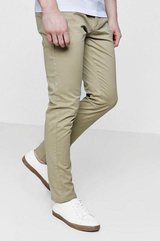 Slim Fit Chino Trousers With Stretch, Stone, HOMBRE