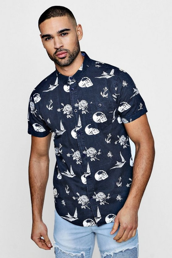 Short Sleeve Skull And Rose Print Shirt