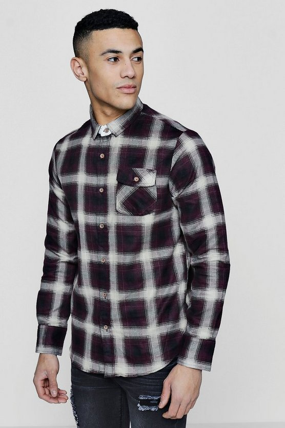 Long Sleeve Brushed Check Shirt With Flap Pocket