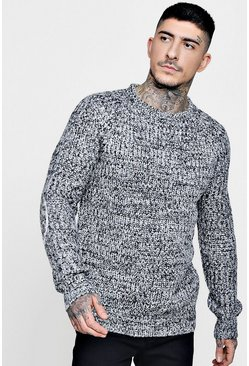 Crew Neck Twisted Yarn Fisherman Knit Jumper, Black, Uomo