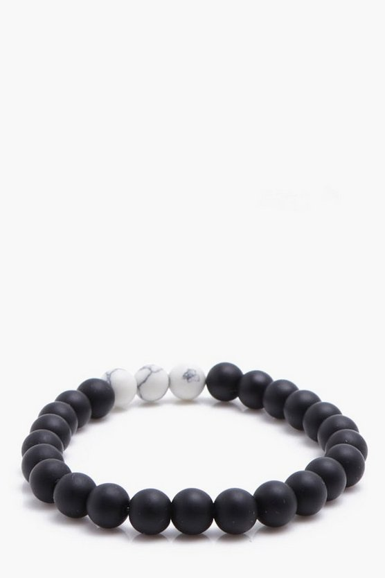 Black Beaded Bracelet With Marble Detail