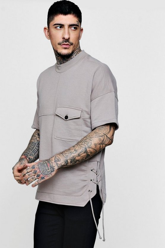 Oversized Pocket Extended Crew Sweater