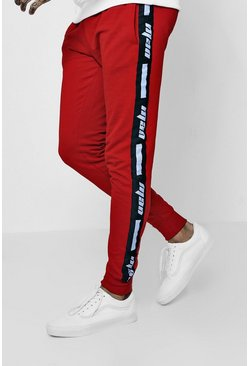 Mens Red Skinny Fit MAN Tape Joggers