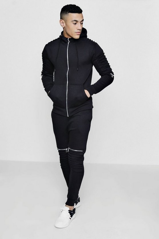 Skinny Fit Biker Zip Hooded Tracksuit