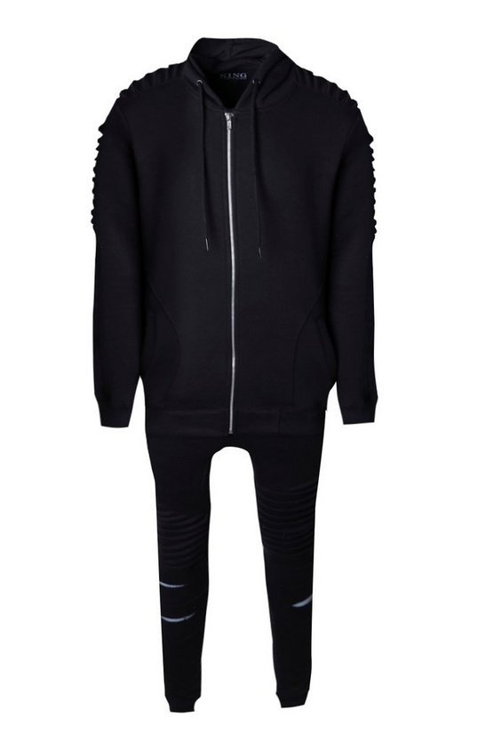 de933d53fc2d Shoptagr | Skinny Fit Biker Tracksuit In Fleece by Boohoo Man