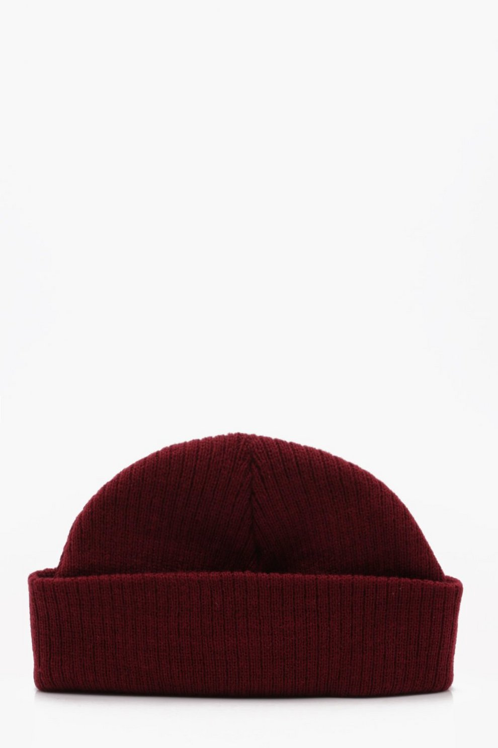 Ribbed Knit Short Fit Beanie With Turn Up  136d5565fd9