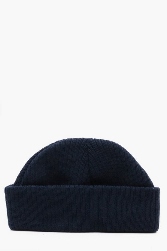 Ribbed Knit Short Fit Beanie With Turn Up
