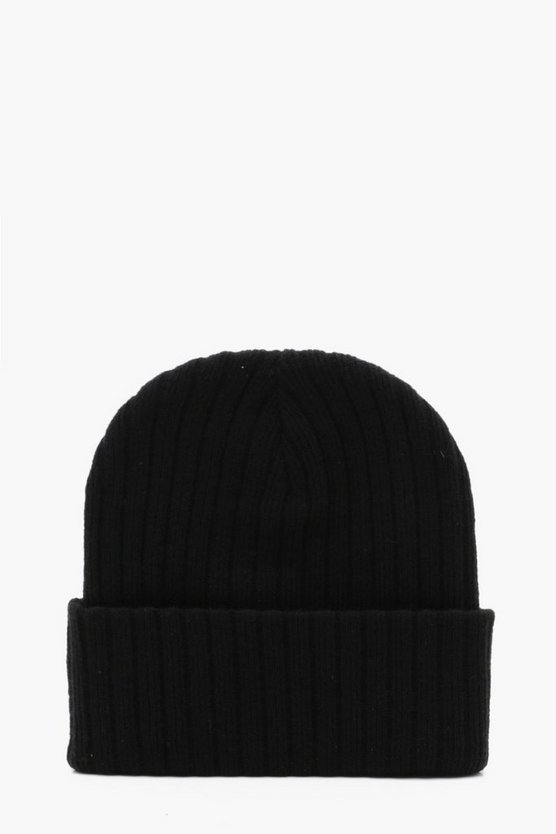 Ribbed Knit Beanie With Turn Up