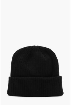 Mens Slouch Beanie In Black