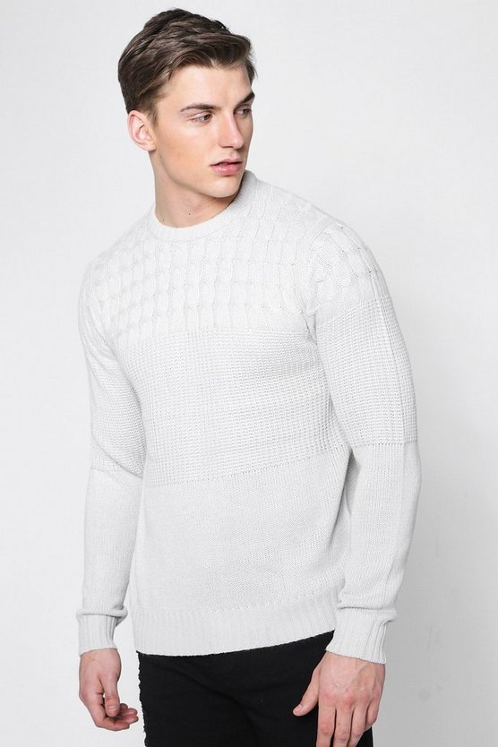 Mens Grey Contrast Marl Knitted Crew Neck Jumper