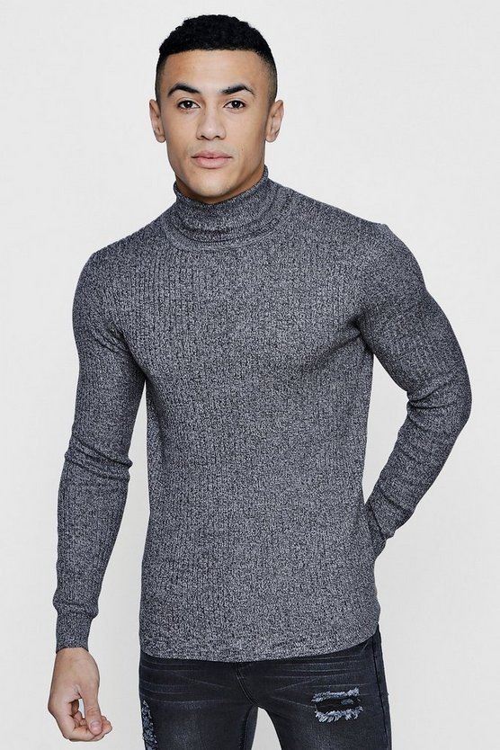Roll Neck Marl Rib Jumper