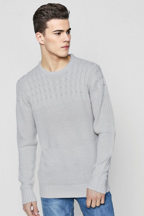 Contrast Cable Rib Knit Jumper