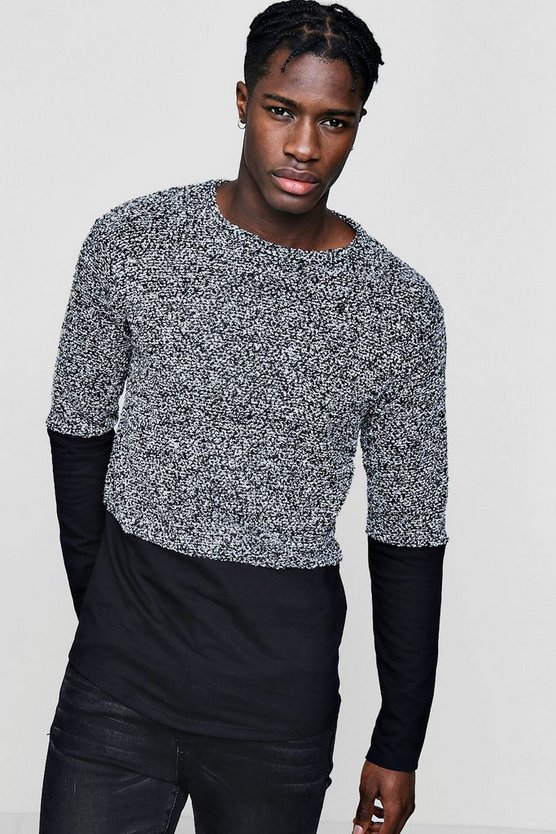 Boucle Jumper with Jersey Panel