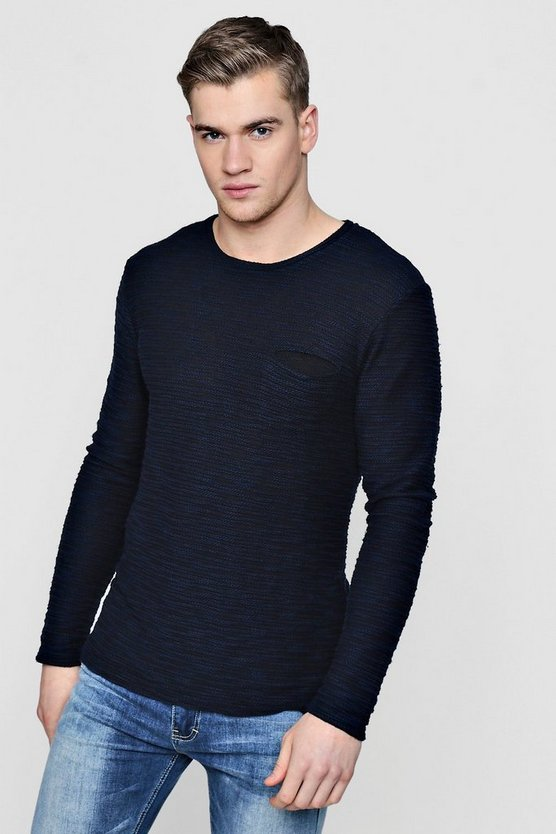 Mens Navy Textured Long Sleeve Crew Jumper