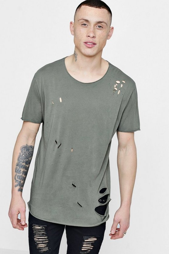 Distressed Longline T-Shirt