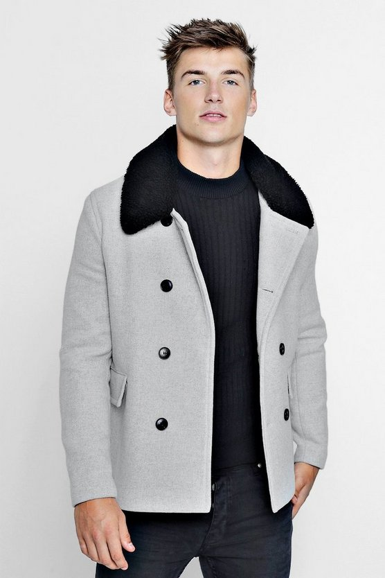 Borg Collar Wool Blend Pea Coat