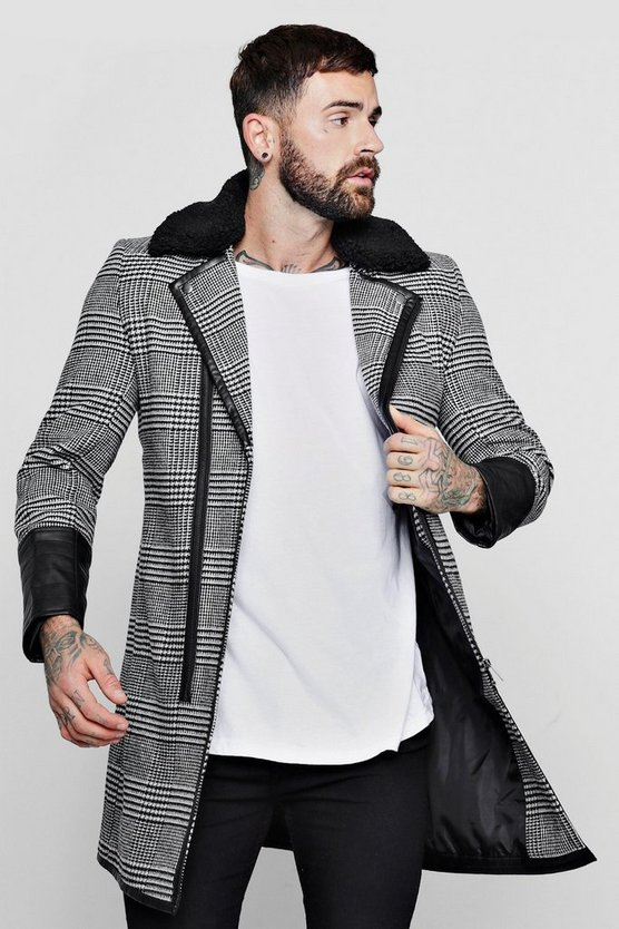 Prince Of Wales Check PU Detail Coat