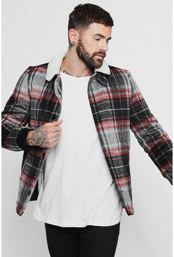 Mens Wool Blend Check Trucker With Borg Collar
