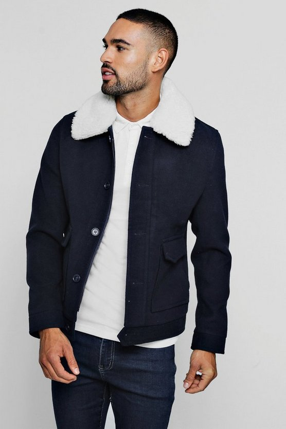 Mens Wool Blend Borg Collar Harrington