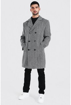 Mens Black Wool Blend Herringbone Double Breasted Overcoat