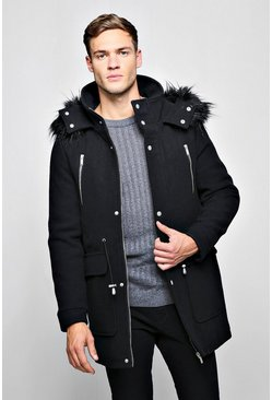 Mens Wool Blend Parka With Faux Fur Trim Hood