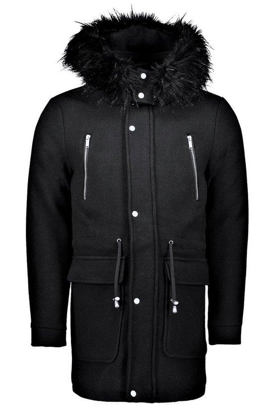 Wool Blend Parka With Faux Fur Trim Hood by Boohoo Man