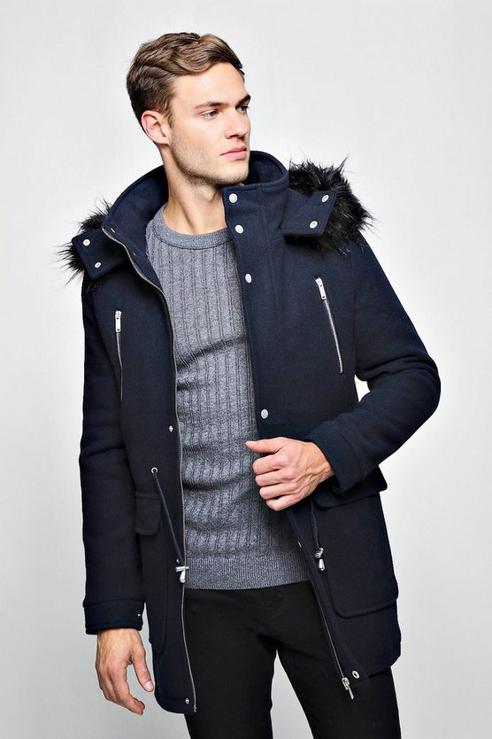 Mens Navy Wool Blend Parka With Faux Fur Trim Hood