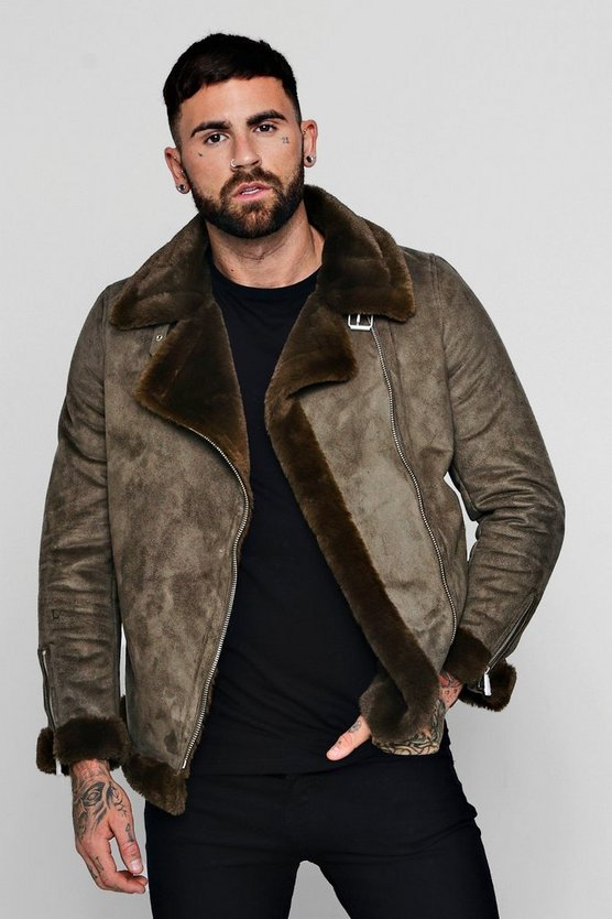 Faux Fur Lined Suede Aviator by Boohoo Man