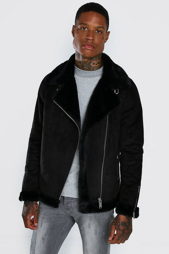 Faux Fur Lined Suede Aviator