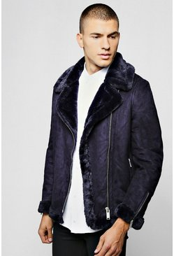 Mens Navy Faux Fur Lined Suede Aviator