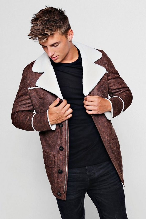 Faux Suede Borg Lined Coat by Boohoo Man