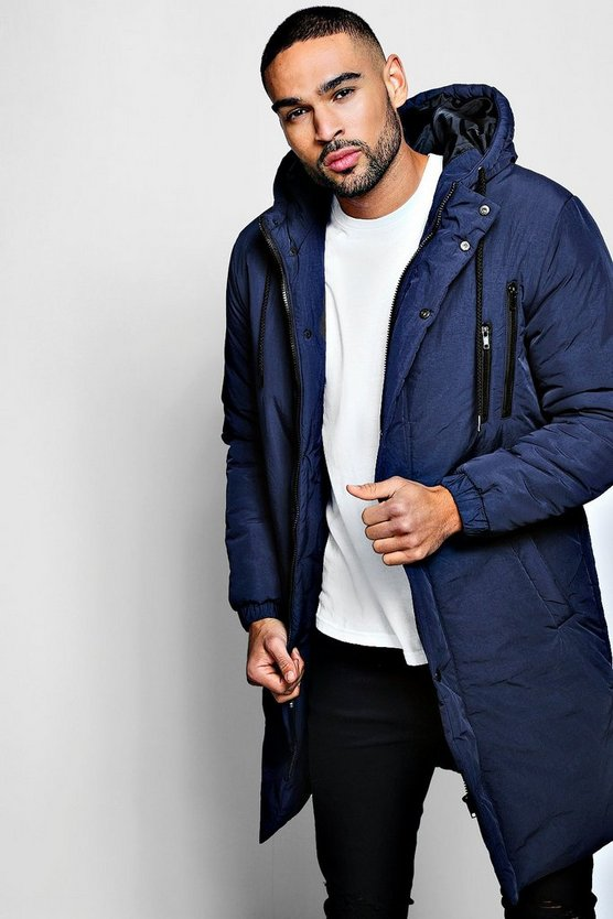 Mens Blue Quilted Parka Coat