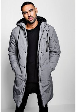 Mens Grey Quilted Parka Coat