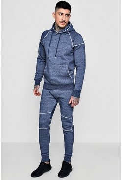 Mens Navy Skinny Fit Melange Tracksuit With Piping