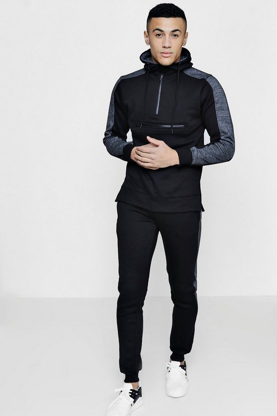 Skinny Fit Zip Front Hooded Tracksuit