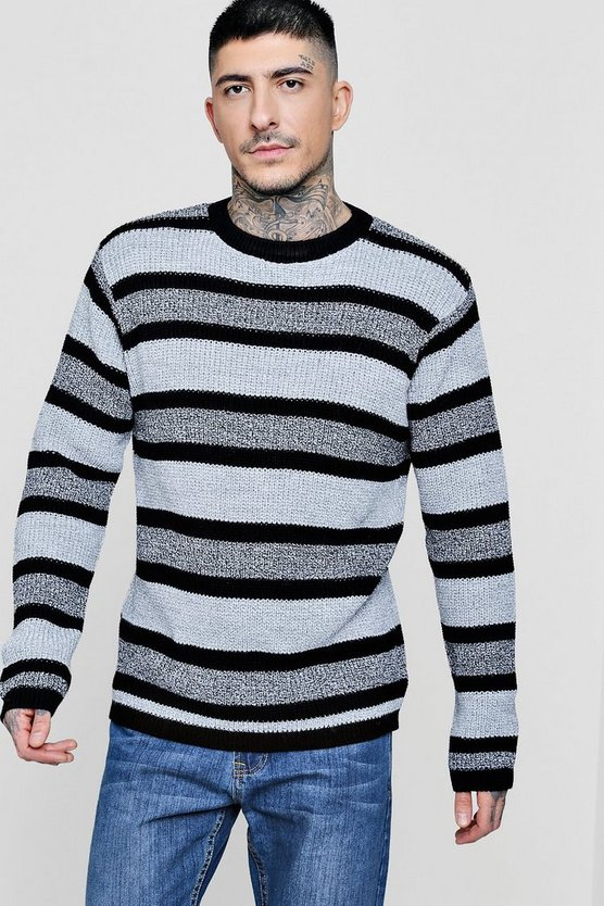 Mens Black Marl Stripe Knitted Jumper