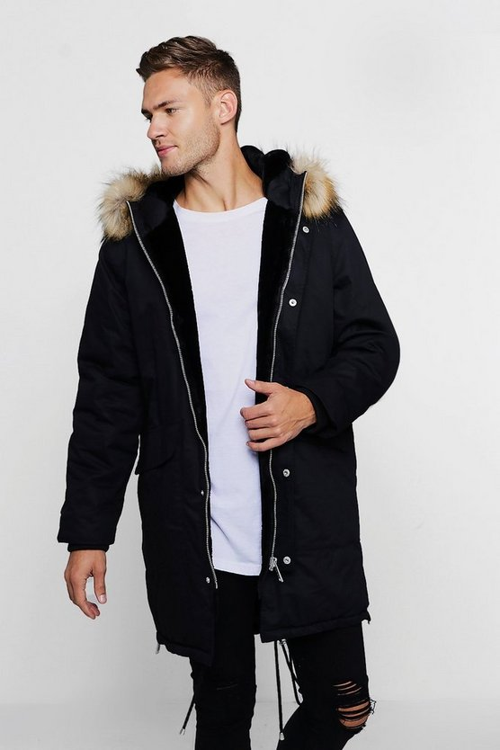 Parka With Contrast Faux Fur Trim Hood, Black, Uomo