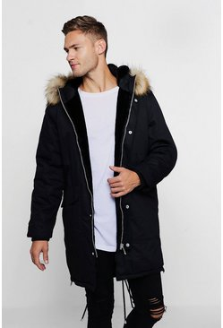 Mens Black Parka With Contrast Faux Fur Trim Hood