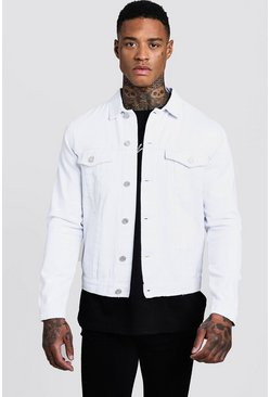 Regular Fit Denim Western Jacket, White, Uomo