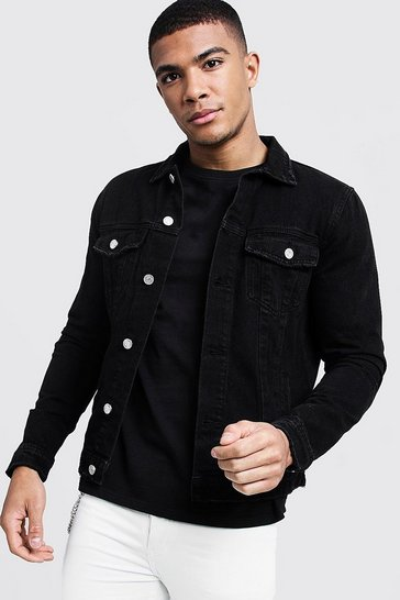 Mens Washed black Regular Fit Denim Western Jacket