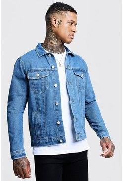 Regular Fit Denim Western Jacket, Mid blue