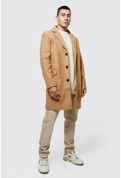 Mens Camel Single Breasted Wool Mix Overcoat