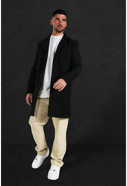 Herr Black Single Breasted Wool Mix Overcoat