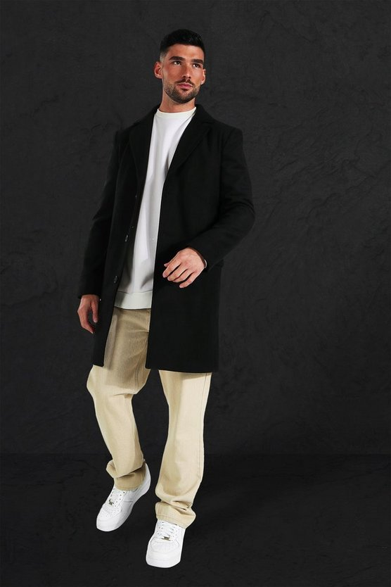 Single Breasted Wool Mix Overcoat, Black, Uomo